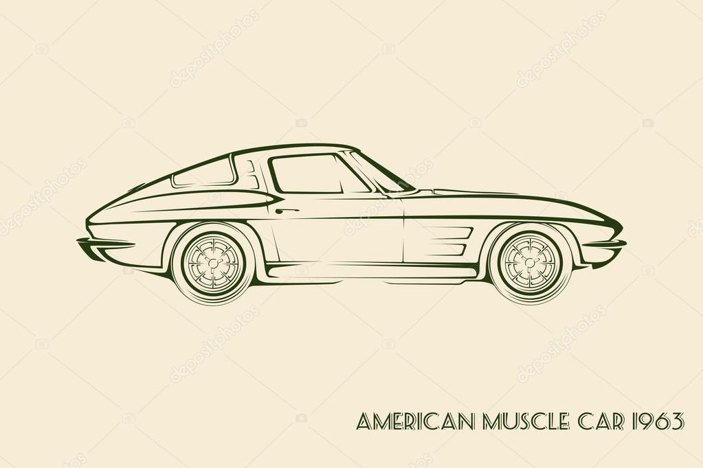 American Muscle Car Silhouette 60s Stock Vector C Vladkiwar 89638706