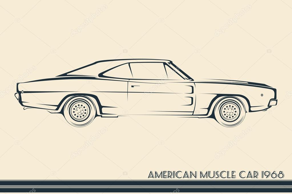 American Muscle Car Silhouette 60s Stock Vector C Vladkiwar 89638974