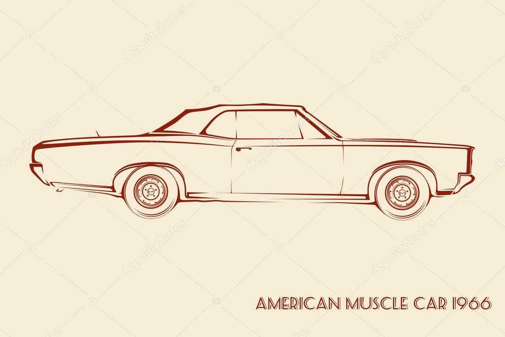 Silueta de coche americano del músculo de los años 60 — Vector de ...