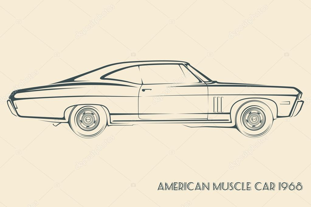 American muscle car silhouette 60s — Stock Vector ...