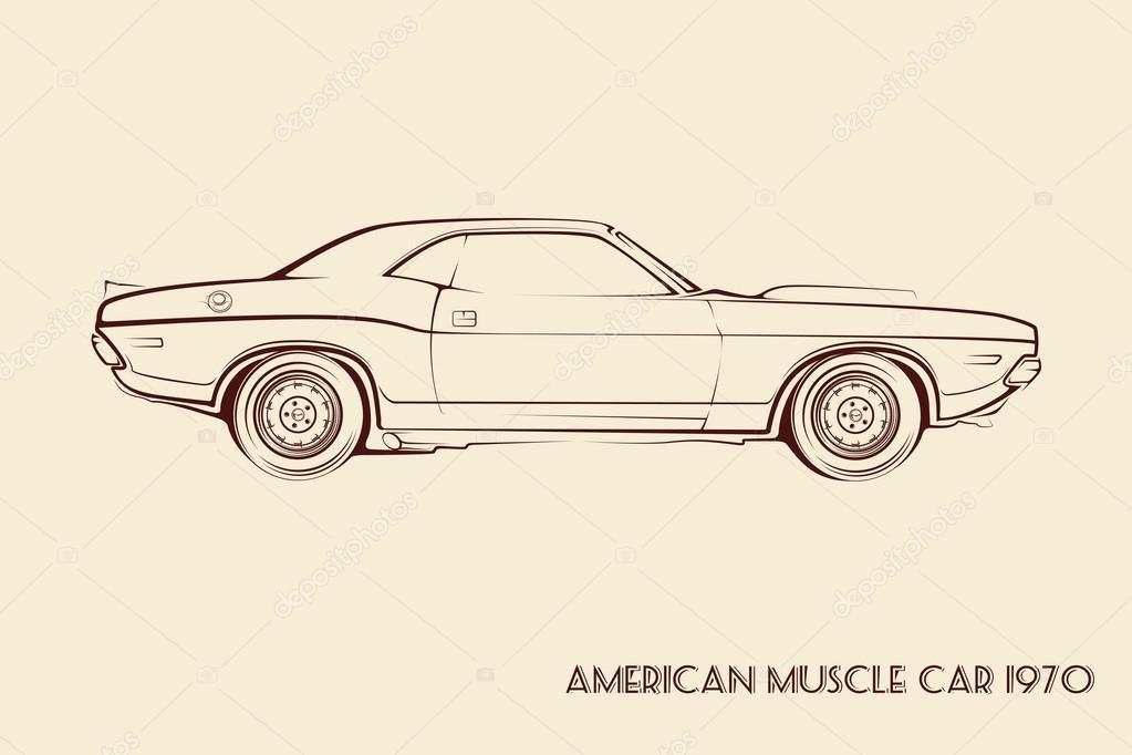 American Muscle Car Silhouette 70s Stock Vector C Vladkiwar 95870236