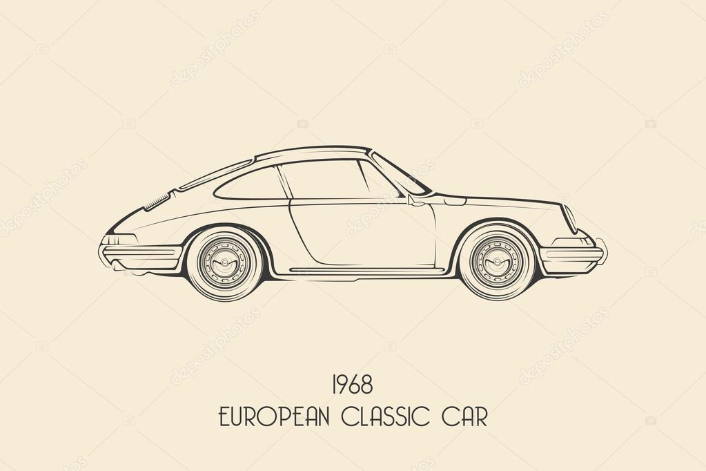 Gemeinsame European vintage classic sports car, silhouettes, outlines &VO_99