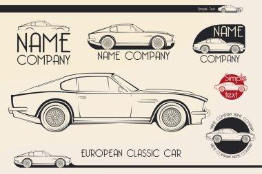 European classic sports car, silhouettes, logo