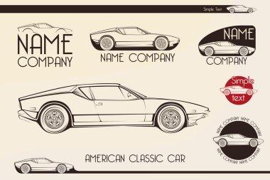 American classic sports car, silhouettes