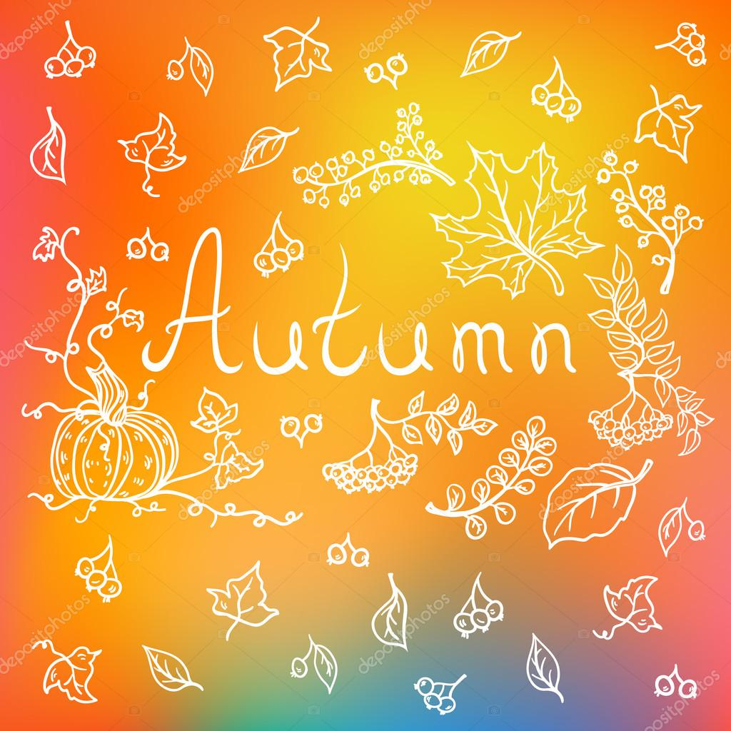 Autumn background with hand drawn elements