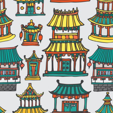 Vector oriental houses seamless pattern