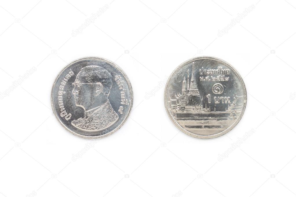 Thailändische Münze 1 Baht Stockfoto Stigmatize 107199502