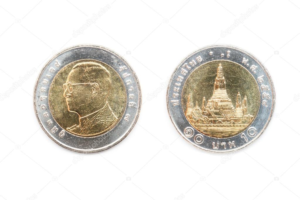Thailändische Münze 10 Baht Stockfoto Stigmatize 107199528