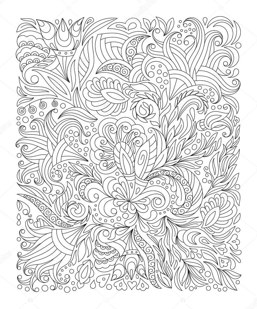 Sayfa Boyama çiçek El çekilmiş Stok Vektör Leezarius 103848502