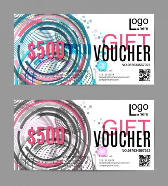 Vector gift voucher template, abstract geometric circles, dots, lines background. Trendy colorful pattern. Concept for boutique, fashion shop, business card, beauty salon, flyer, banner design.