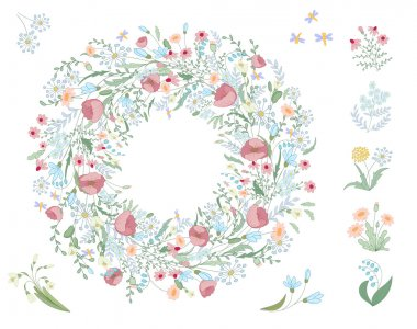 Detailed contour wreath with herbs, leaves and wild spring flowers isolated on white. Round frame for your design, greeting cards, wedding announcements, posters.