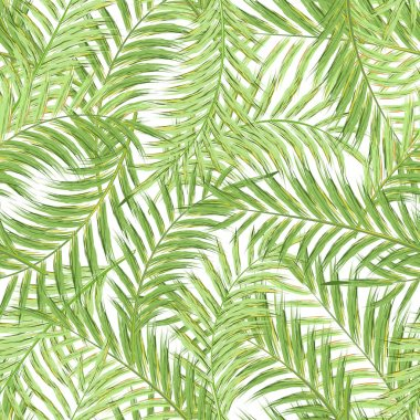 Seamless exotic pattern with tropical leaves on a white background. Vector illustration. Watercolor imitation. Oil paint Not trace.