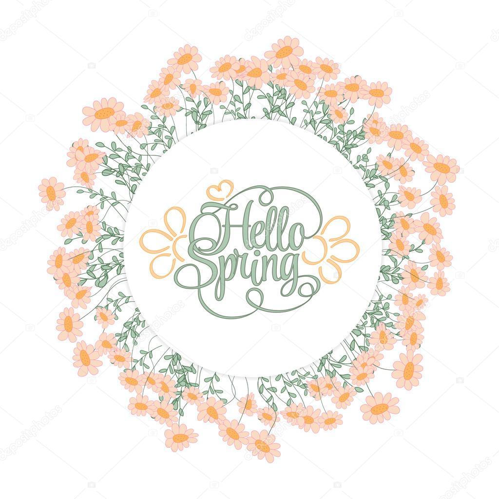 Primavera mano dibujar marco redondo con flores de color rosado ...