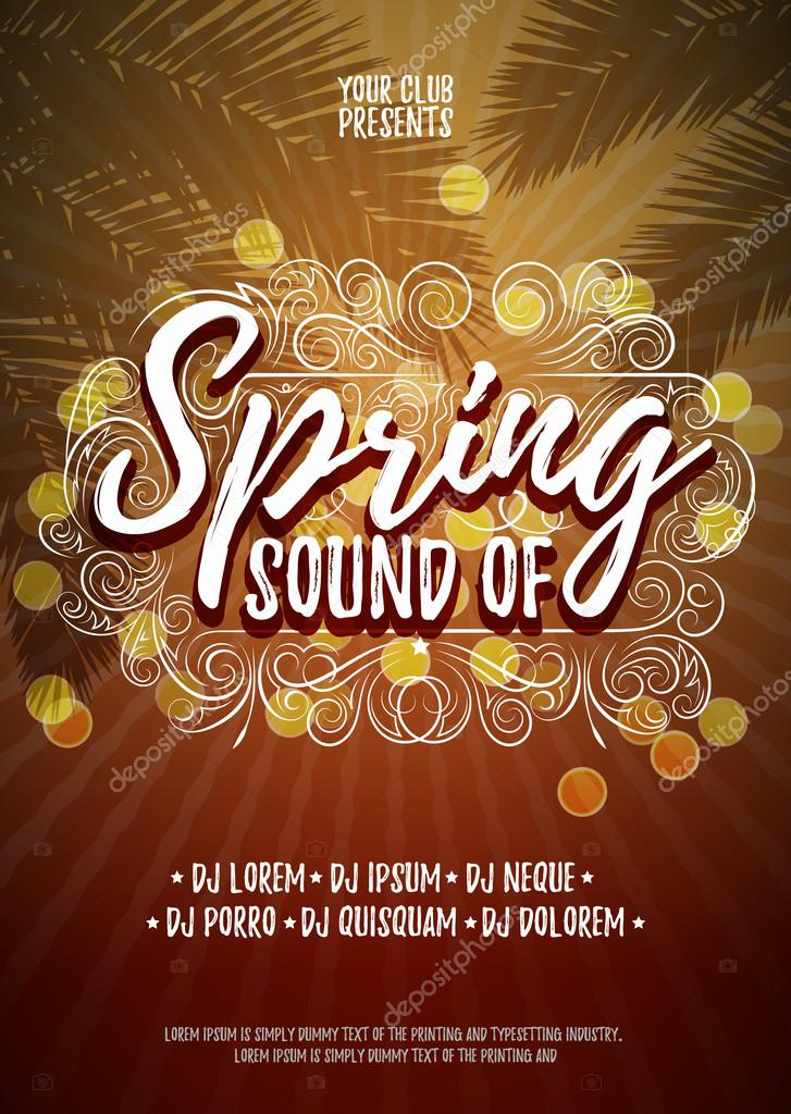 sound of spring typographical poster or flyer background template