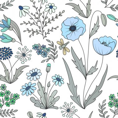 Beautiful vintage seamless pattern with colorful wild spring flowers on a white background.
