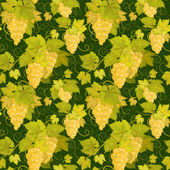 Fényképek Seamless pattern with branches, leaves and berries of grapes on a black background. Vector.
