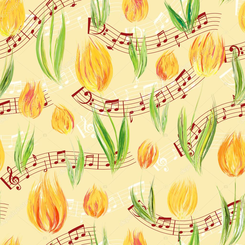 Bright seamless pattern with oil painted yellow tulip flowers end notes