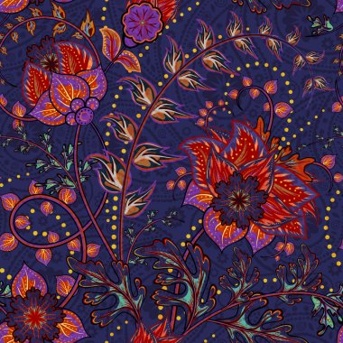 Fantasy flowers seamless paisley pattern. Floral ornament  on dark blue background for fabric, textile, cards, wrapping paper, wallpaper template. Ornamental bright motif