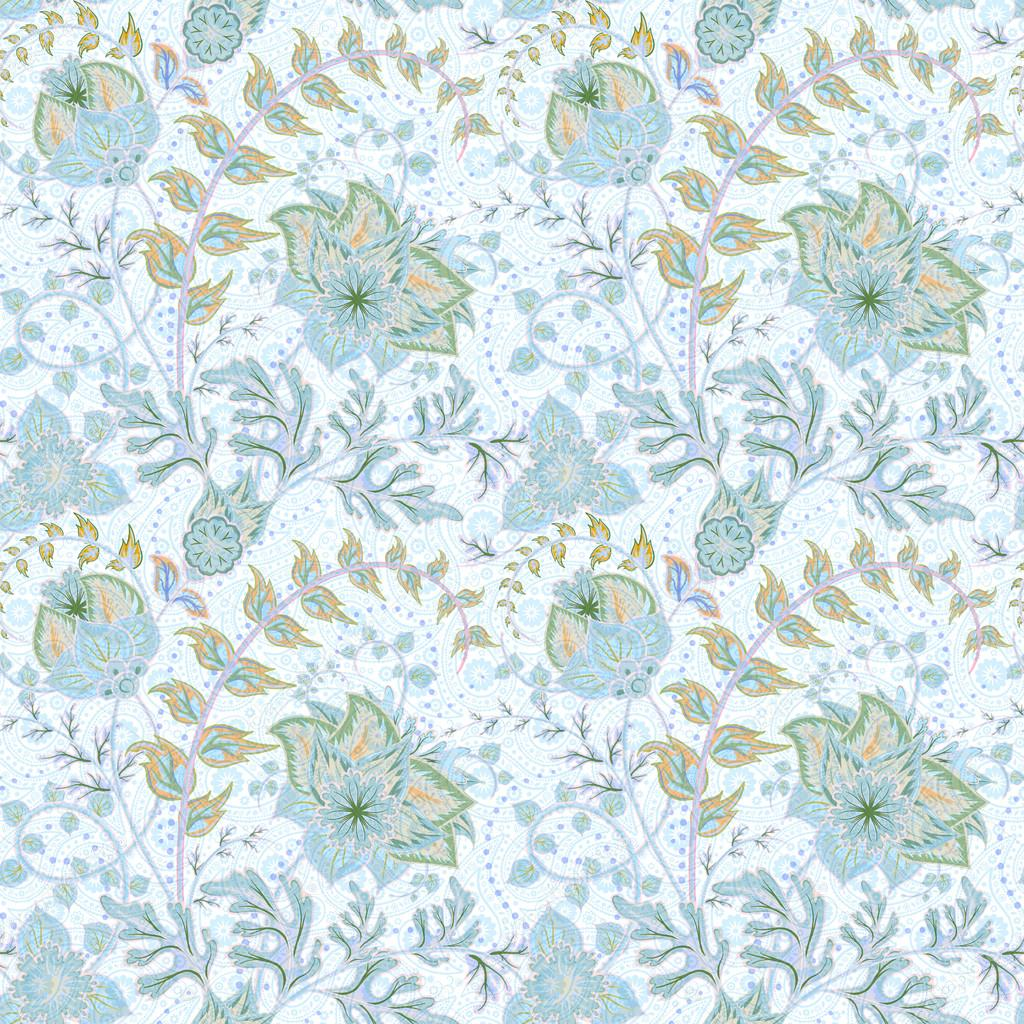 Traditional oriental seamless paisley pattern. Vintage blue flowers on white background. Decorative ornament backdrop for fabric, textile, wrapping paper, card, invitation, wallpaper, web design.