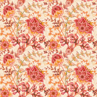 Traditional oriental seamless paisley pattern. Vintage red flowers on white background. Decorative ornament backdrop for fabric, textile, wrapping paper, card, invitation, wallpaper, web design.