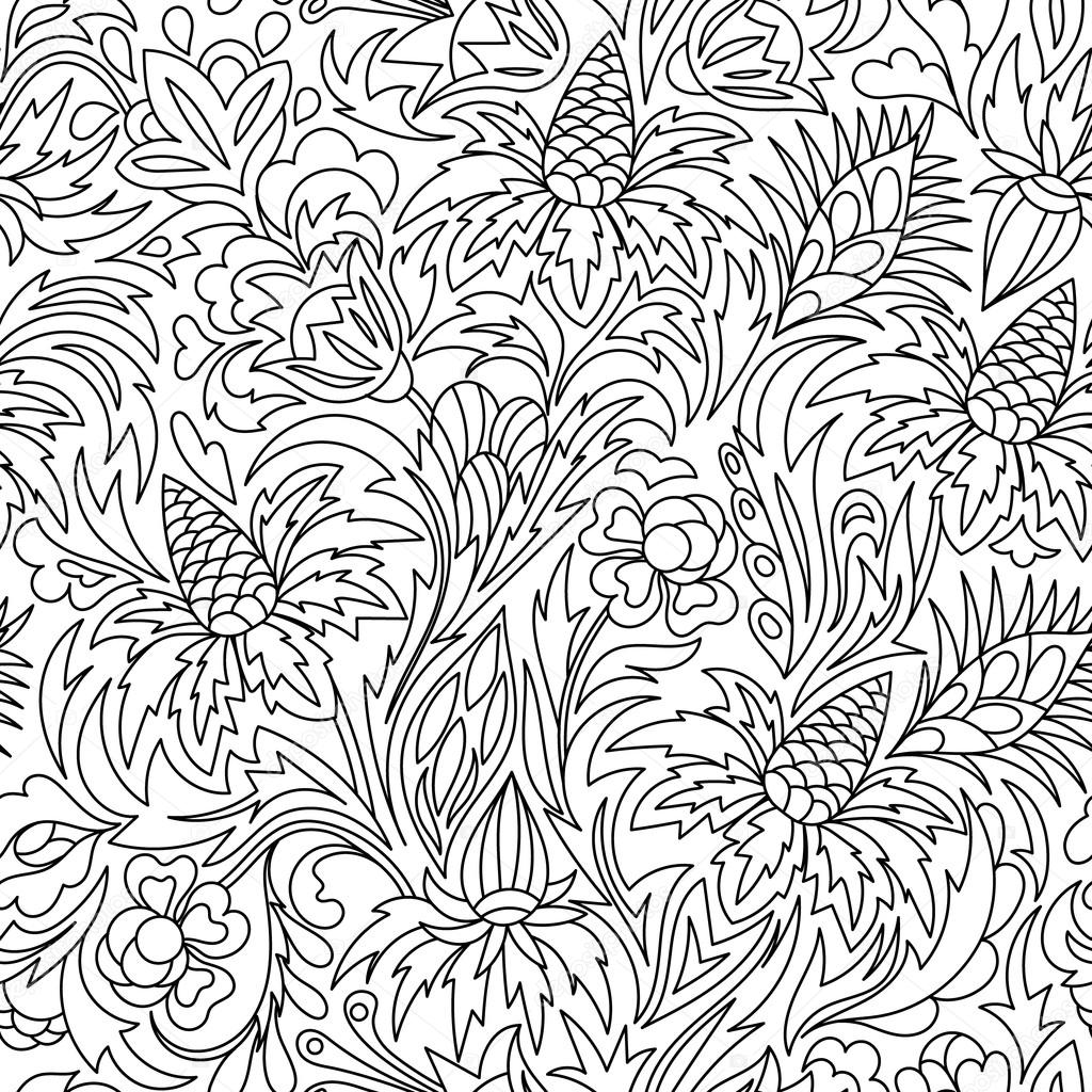 Coloring book. Hand drawn. Black and white seamless pattern. Adults ...