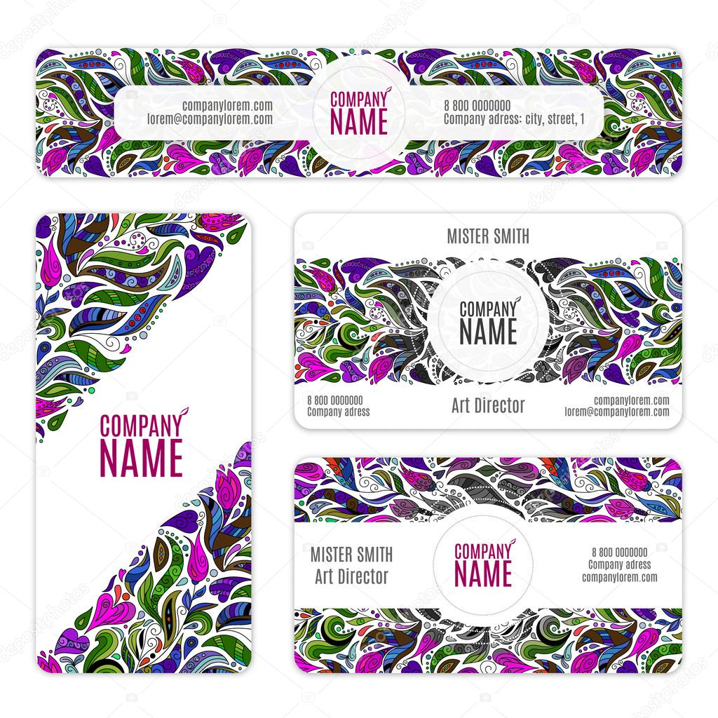 Corporate Identity vector templates set with flowers and leaves in zentangle doodle style. Violet lilac pink colors.
