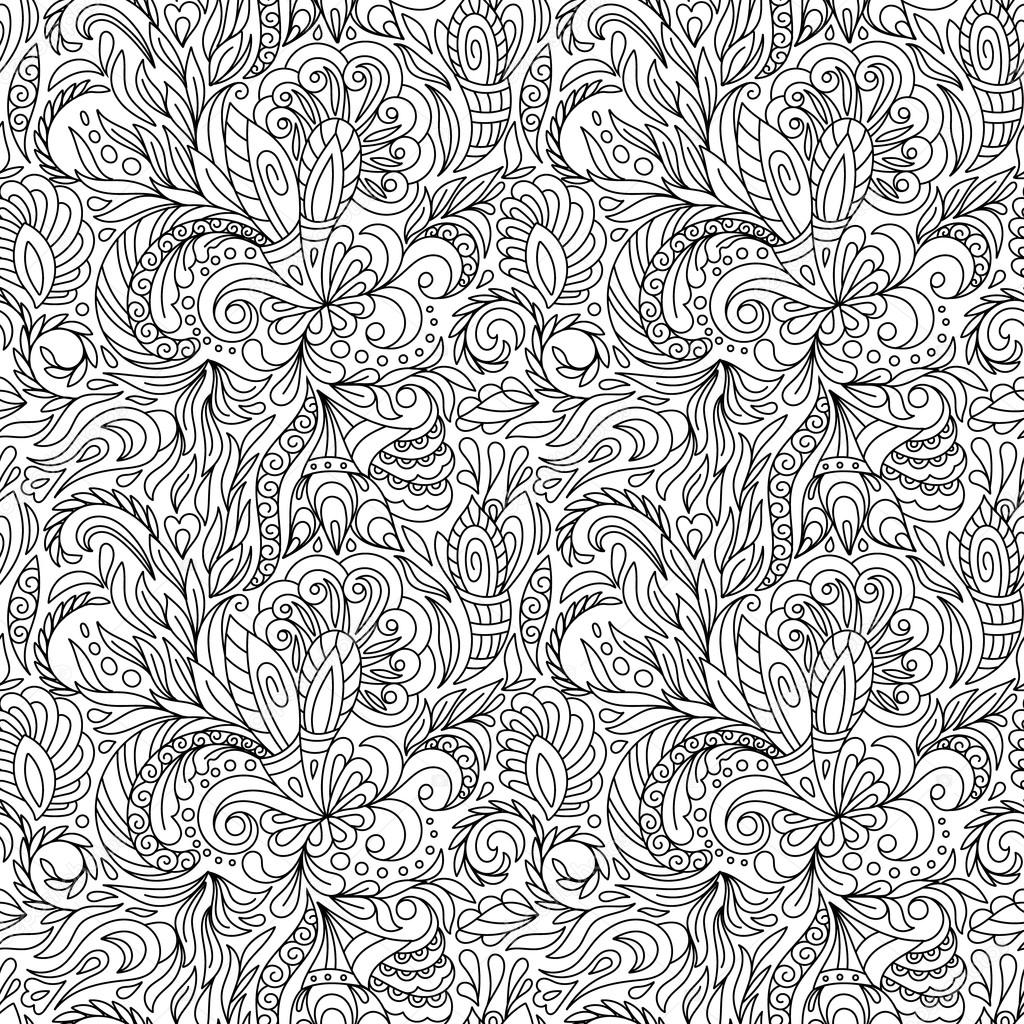 Seamless pattern for coloring book.  Ethnic, floral, retro, doodle, vector, tribal design element. Black and white  background.