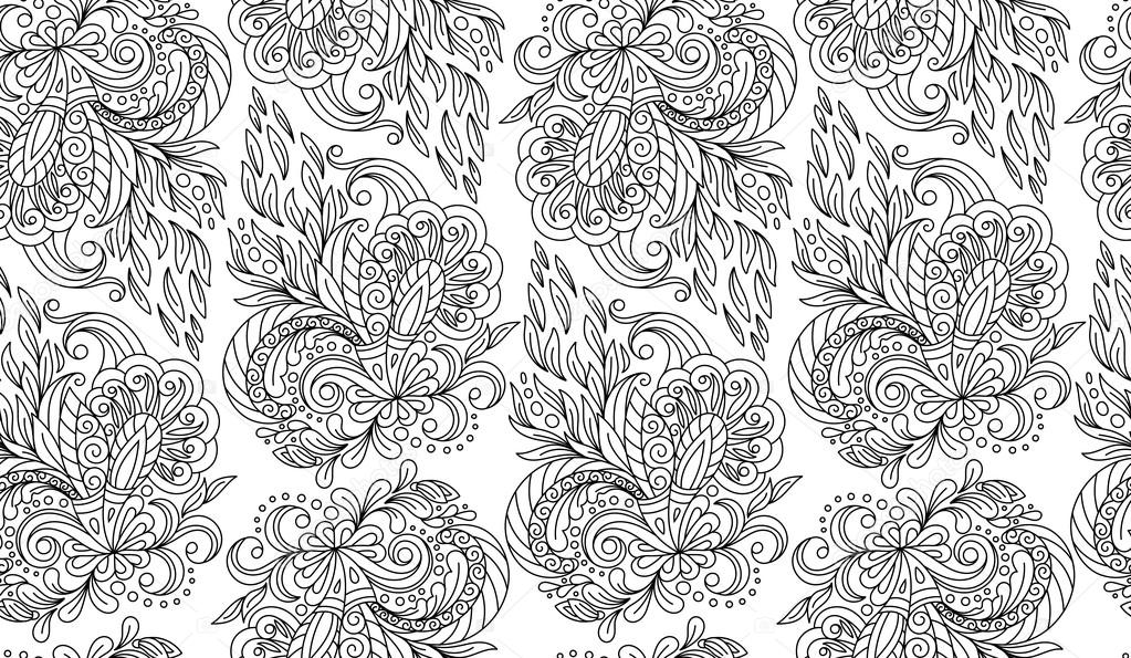 Seamless doodle flower background in vector with doodles, flowers. Circles ethnic floral pattern. Used Clipping mask for easy editing.