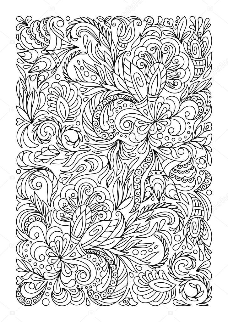 Página para colorear con patrón de flores vintage — Vector de stock ...