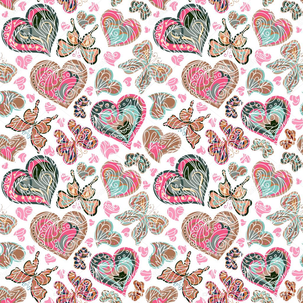 Seamless pattern with colorful vintage pastel pink blue ...