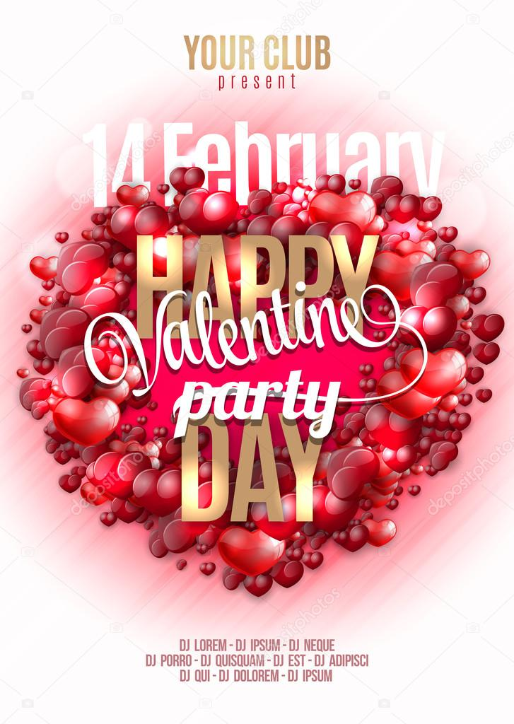 Valentines Happy Day Party Invitation Flyer Background With Hearts
