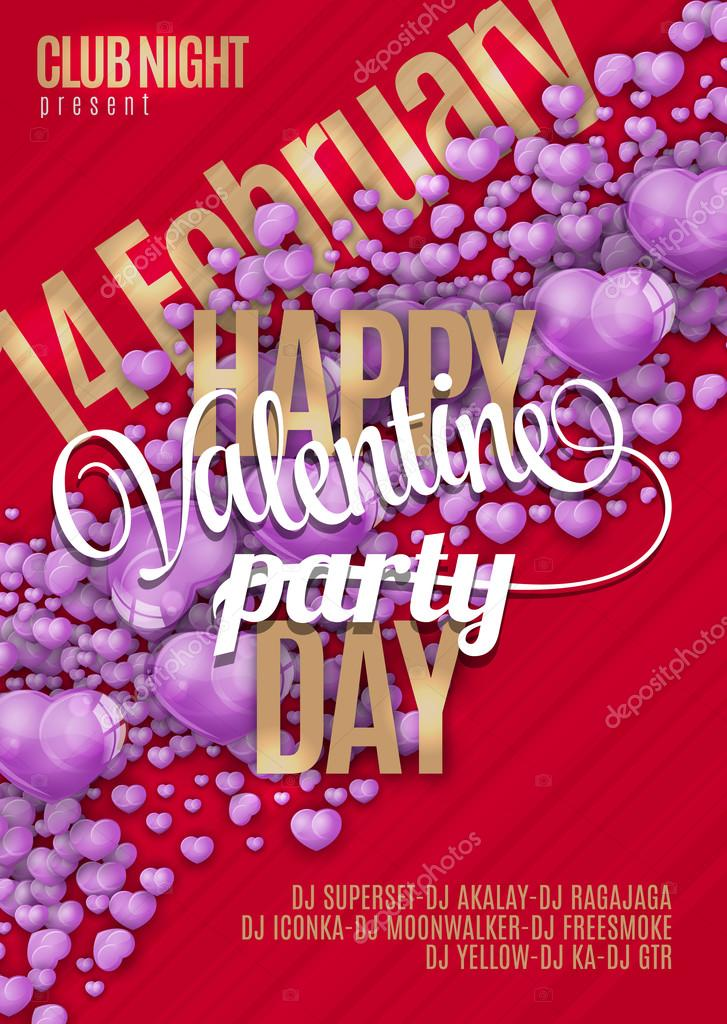 valentines day party flyer background design vector template of