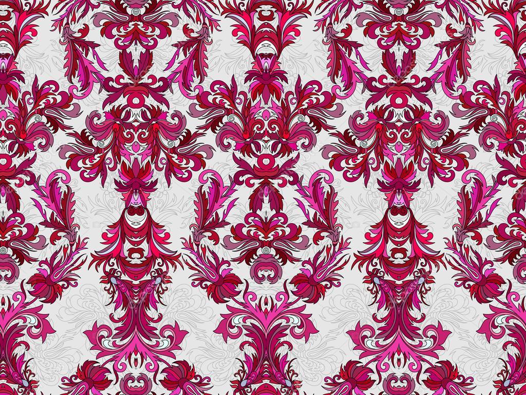 Carta Da Parati Damascata Rosa : Carta da parati damascata floreale di lusso fondo senza cuciture