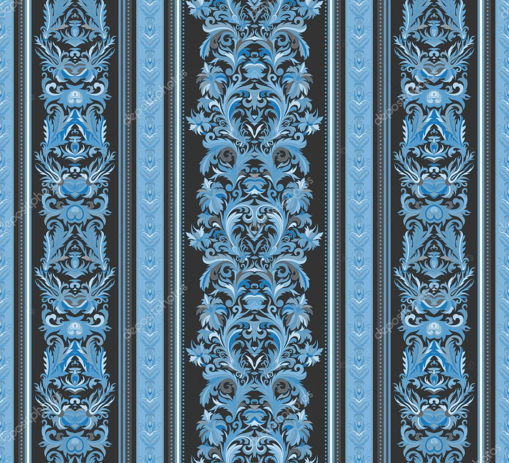Seamless Vintage Background Royal Renaissance Striped Wallpaper Vector For Textile Design Baroque Pattern Blue Tone On