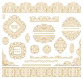 Big vector set of ornate art frames, vignettes and border