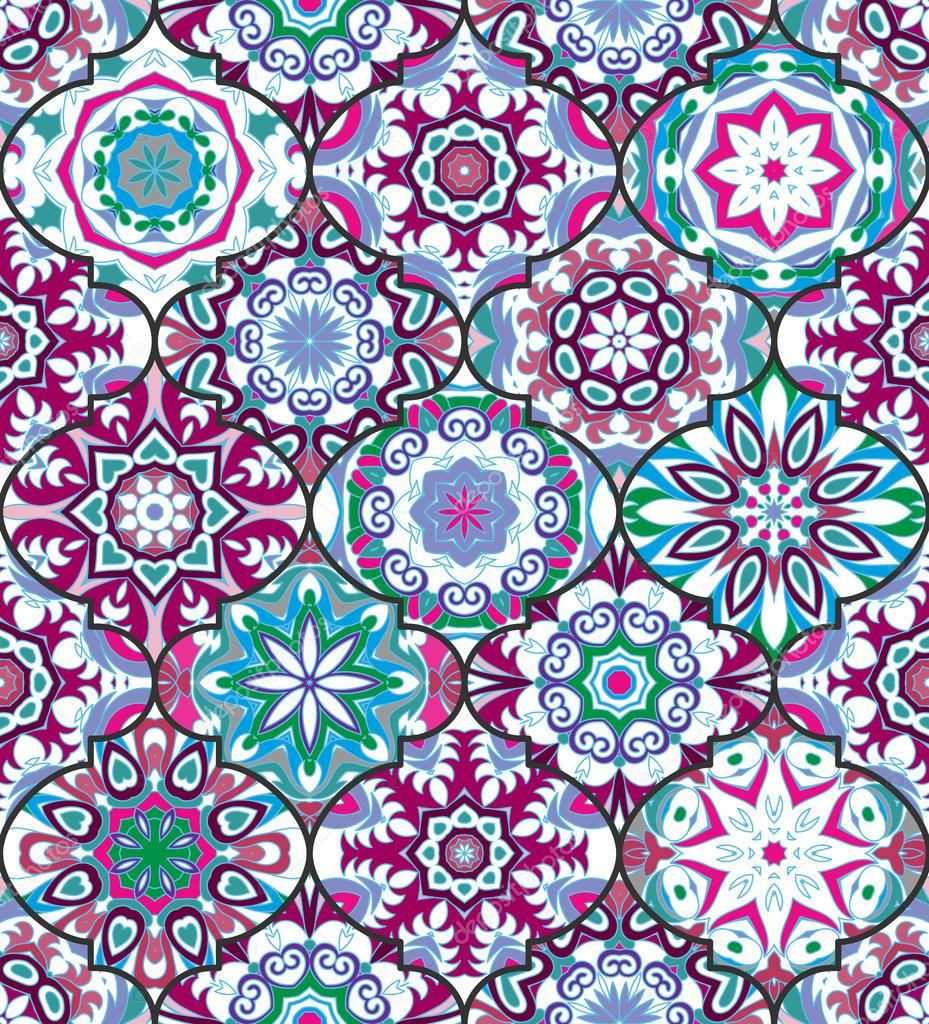 Vector ethnic colorful bohemian pattern in bright colors