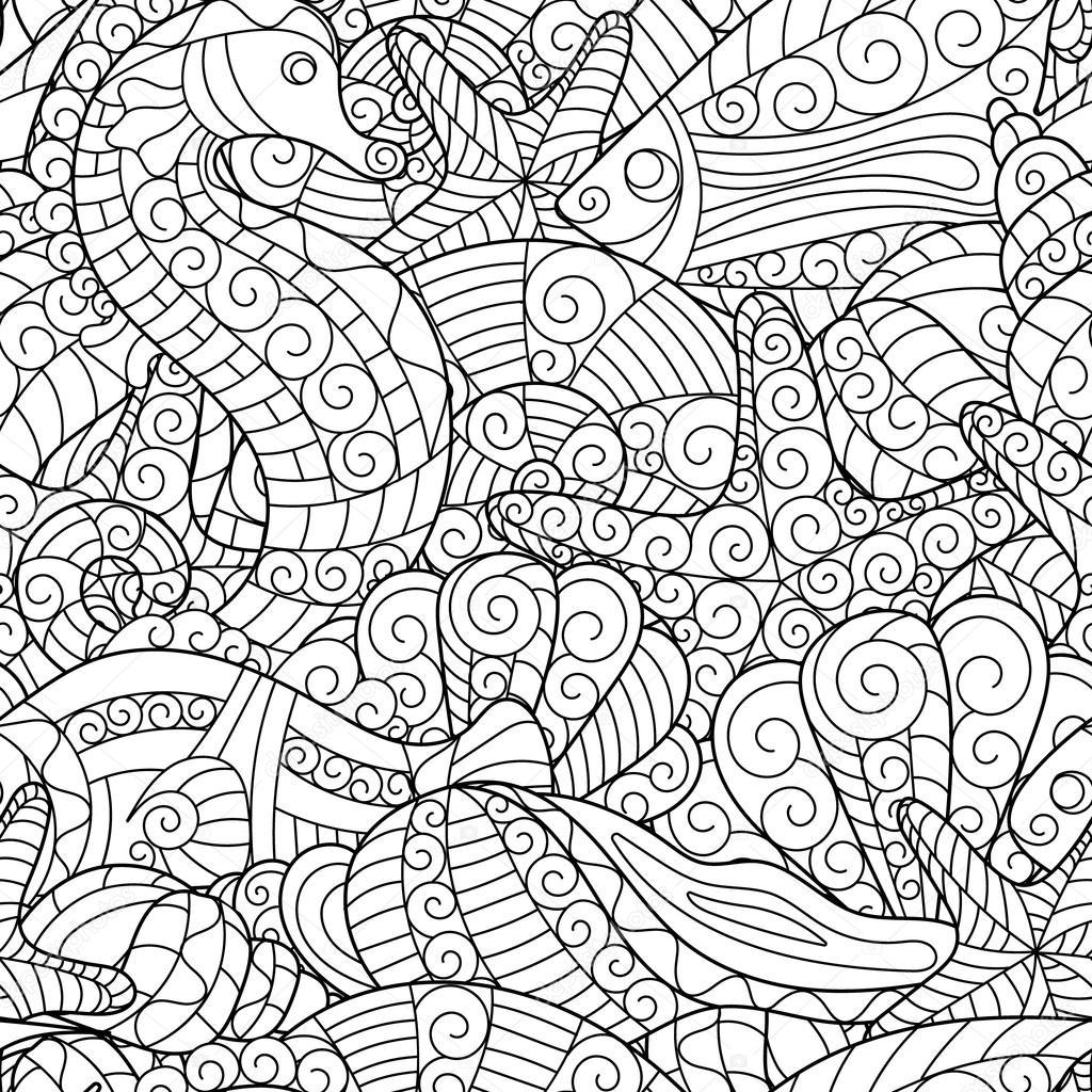 Blanco y negro de patrones sin fisuras para colorear libro. Vida ...