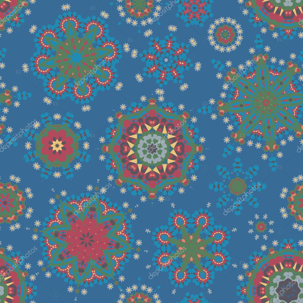 Ethnic pattern in pastel color with stylized flowers