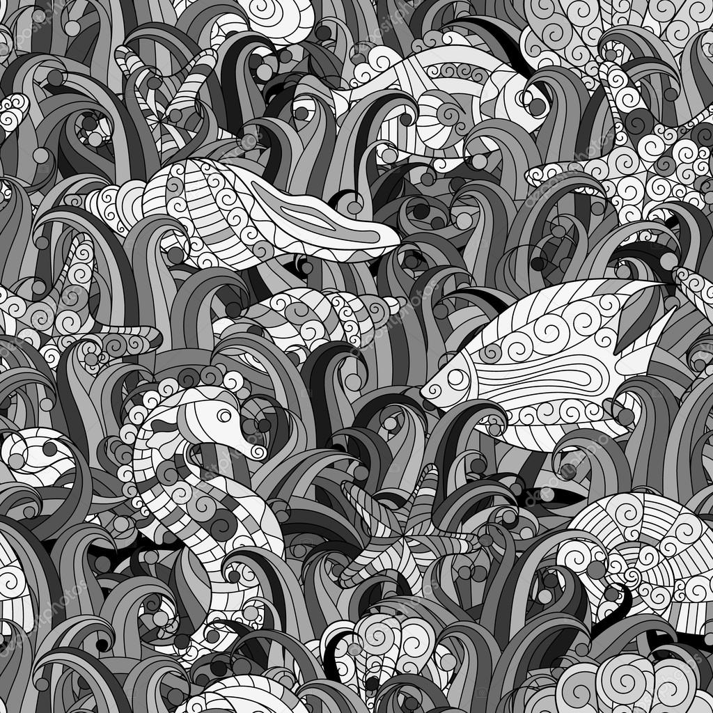 Vector seamless pattern Underwater creatures. Ocean background.