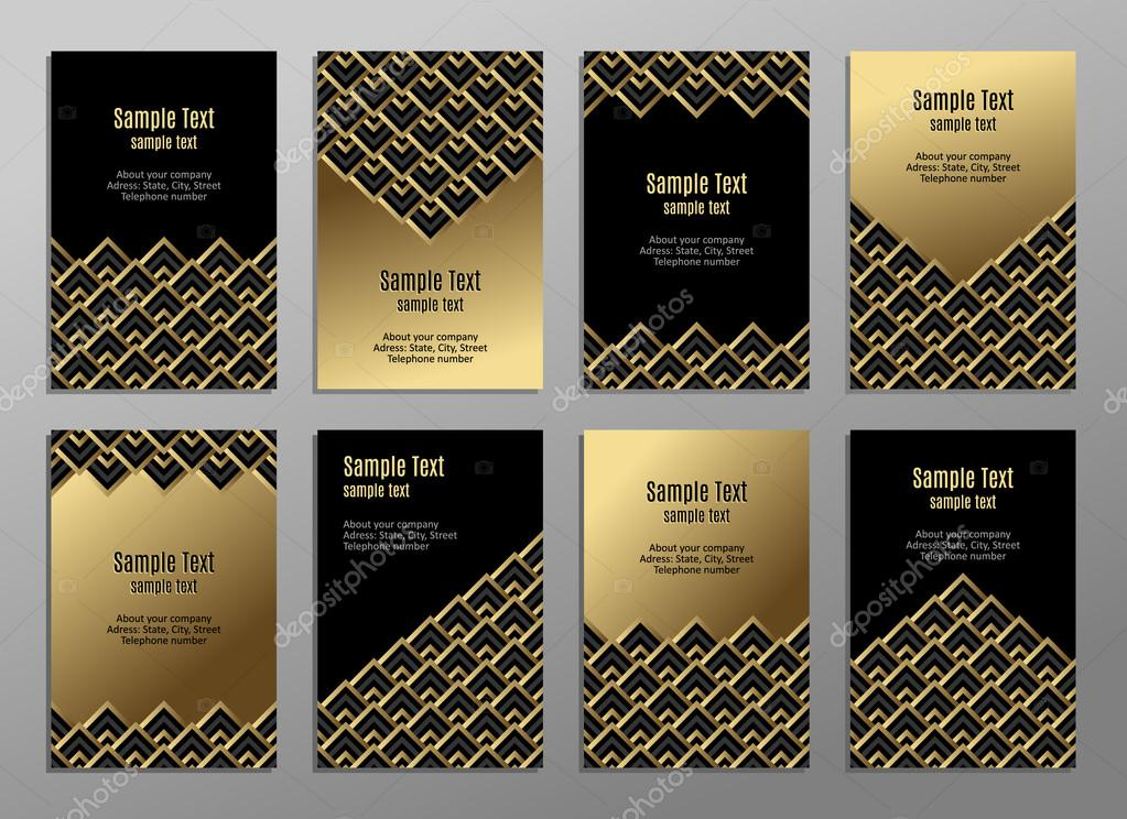 Set Of Cards Gold On The Black Business Plates