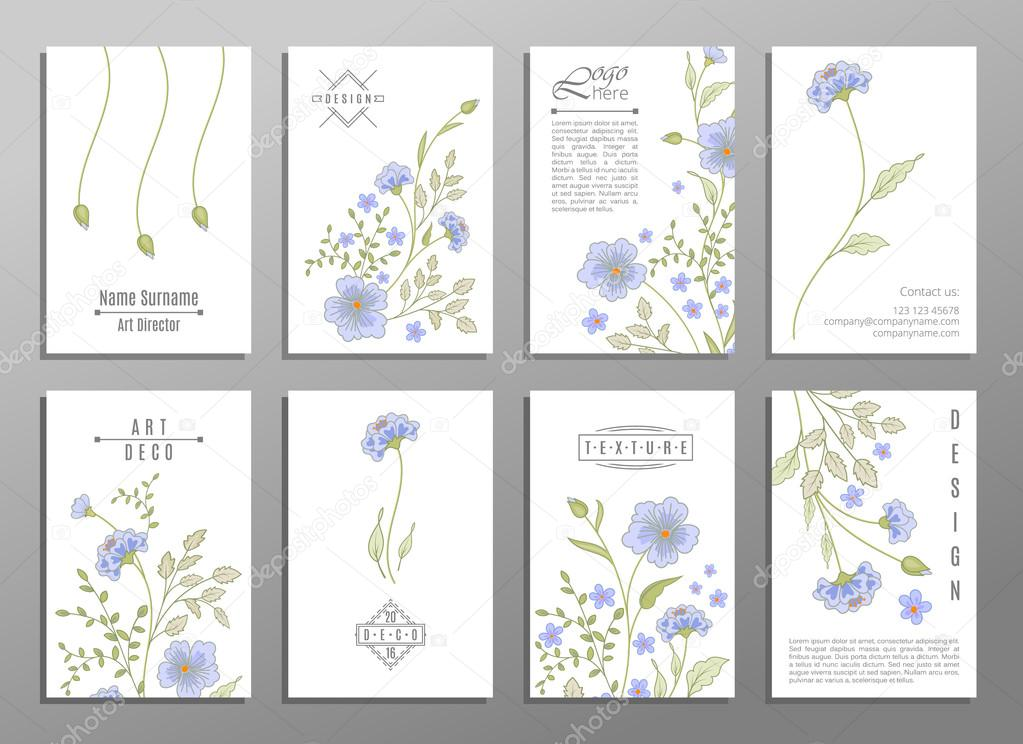 collection of cute invitation cards with flowers for your design
