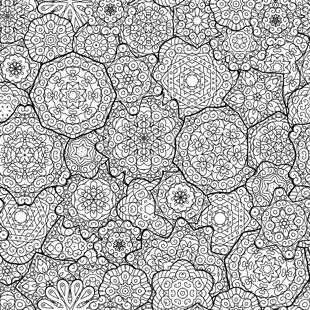 Ethnic floral mandalas, doodle background circles in vector. Seamless pattern. Black and white  for coloring book  adults  kids.