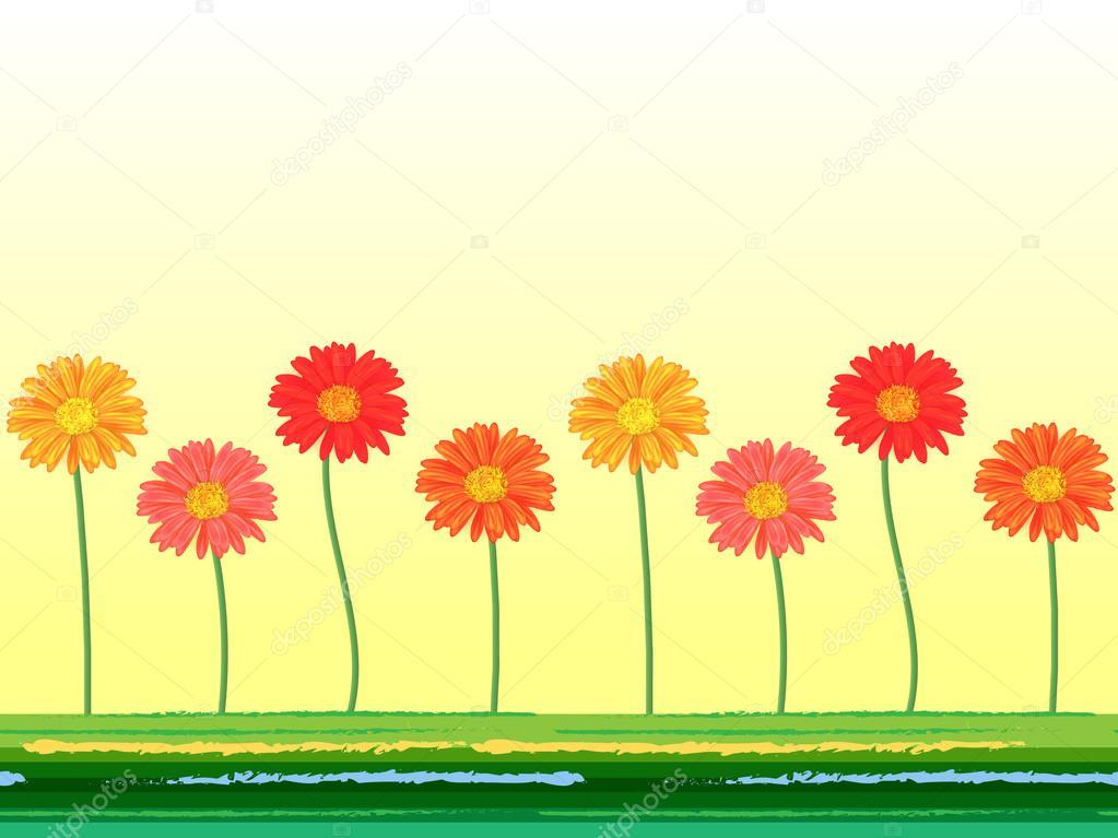 Flores Vectoriales Con Fondo Transparente: Fondo Transparente Horizontal Con Flores Gerbera Colorido