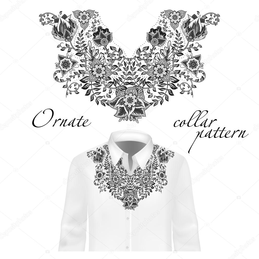 Vector design for collar shirts, blouses. Colorful ethnic flowers neck.