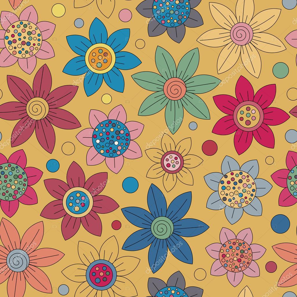 floral seamless cute pattern simple design primitive flowers