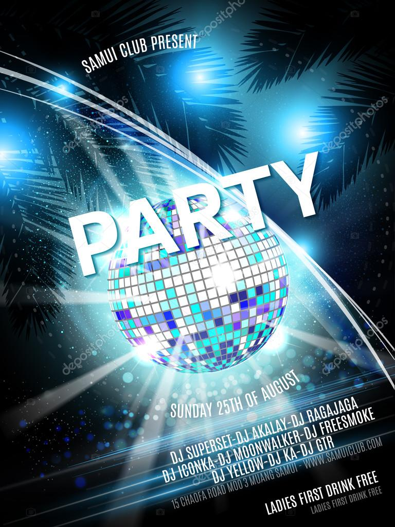 Vector Disco Party Flyer Design with  ball on shiny background. Eps10 illustration.