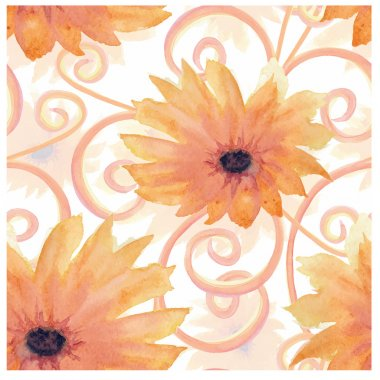 Watercolor Aquarelle Vector Seamless Pattern Background  with colored Sunflowers