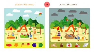 Set. Kids playing on playground. Swinging and sliding children. Flat style vector cartoon illustration.