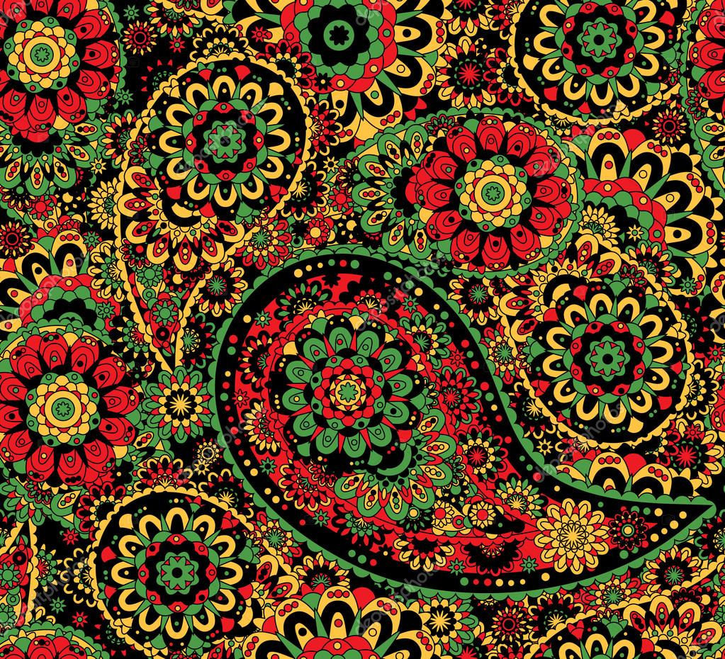 Traditional oriental seamless paisley pattern. Decorative ornament for fabric, textile, wrapping paper. Khokhloma style.