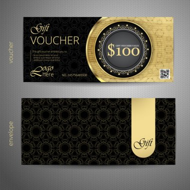 Voucher template with premium vintage pattern. vector